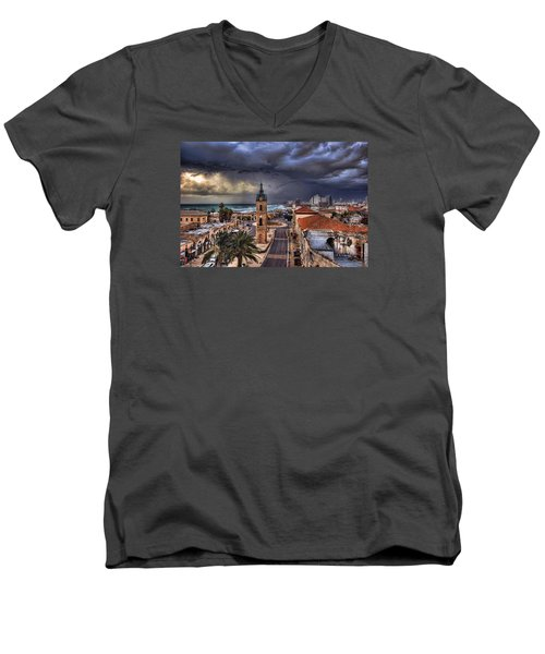 the Jaffa old clock tower Men's V-Neck T-Shirt by Ronsho