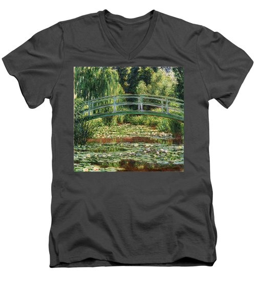 The Japanese Footbridge And The Water Lily Pool Giverny Men's V-Neck T-Shirt by Claude Monet