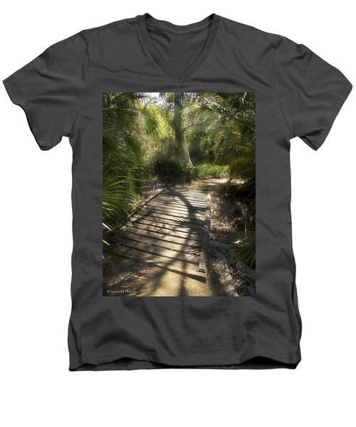 Men's V-Neck T-Shirt featuring the photograph The Journey Along The Path Comes With Light And Shadows by Lucinda Walter