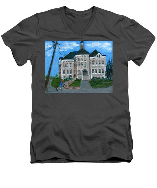 The Last Bell At West Hill School Men's V-Neck T-Shirt by Betty Pieper