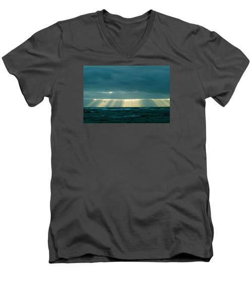 Men's V-Neck T-Shirt featuring the photograph The Light Above Kapoho by Lehua Pekelo-Stearns