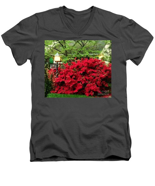 Men's V-Neck T-Shirt featuring the photograph The Light Red Bush Bella by Becky Lupe