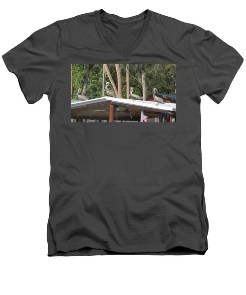 Men's V-Neck T-Shirt featuring the photograph The Lineup by Fortunate Findings Shirley Dickerson