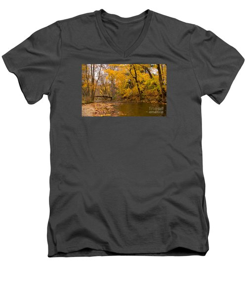 Men's V-Neck T-Shirt featuring the photograph The Little Bridge Over Valley Creek by Rima Biswas