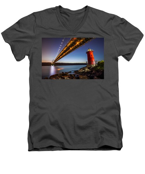 The Little Red Lighthouse Men's V-Neck T-Shirt by Mihai Andritoiu
