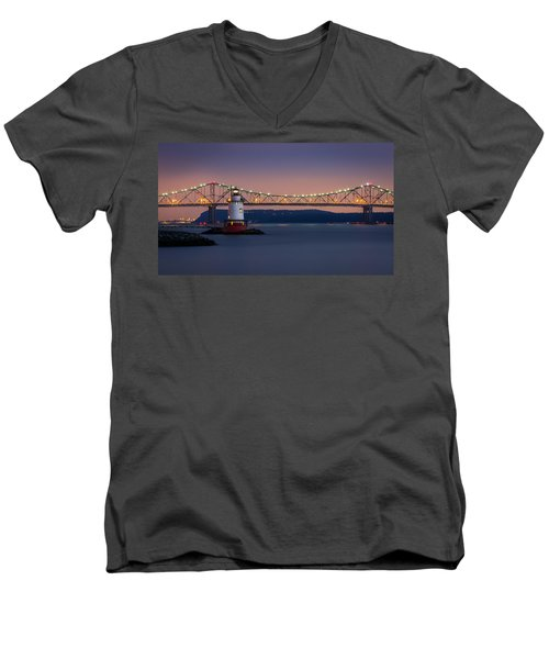 Men's V-Neck T-Shirt featuring the photograph The Little White Lighthouse by Mihai Andritoiu