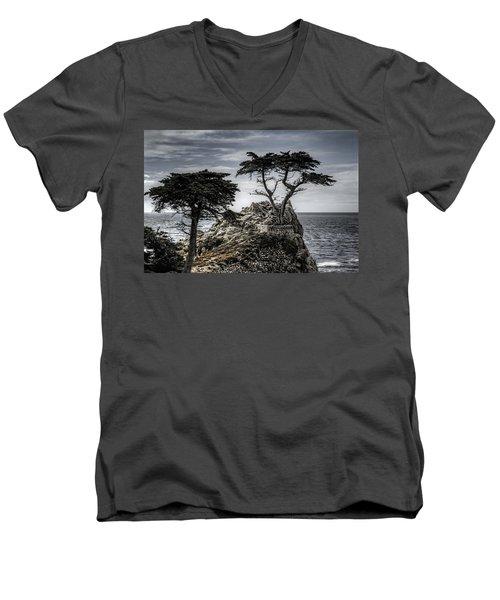 The Lone Cypress Men's V-Neck T-Shirt by Eduard Moldoveanu