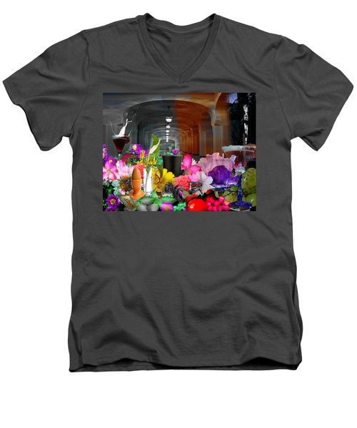 Men's V-Neck T-Shirt featuring the digital art The Long Collage by Cathy Anderson
