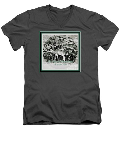 The Magic Of Christmastime In A Woodland Men's V-Neck T-Shirt by Kimberlee Baxter