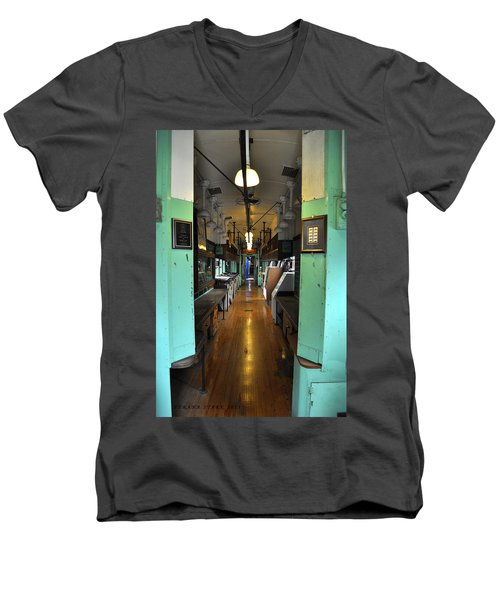 Men's V-Neck T-Shirt featuring the photograph The Mail Car From The Series View Of An Old Railroad by Verana Stark