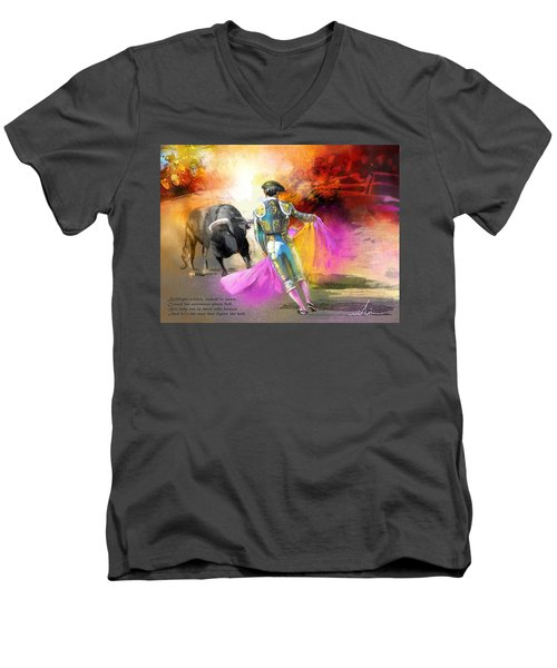 The Man Who Fights The Bull Men's V-Neck T-Shirt