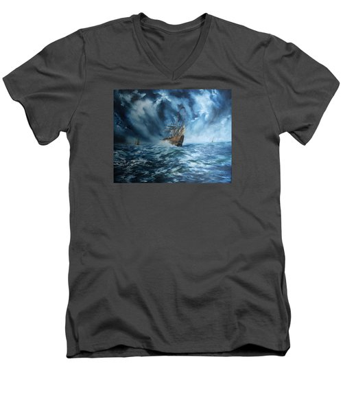 The Mary Rose And Fleet Men's V-Neck T-Shirt by Jean Walker