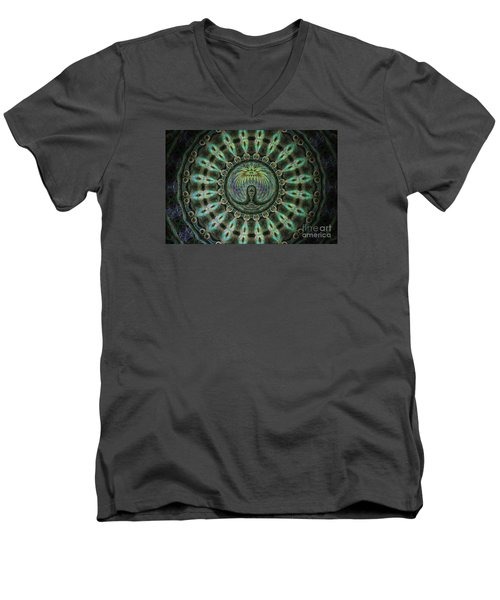 Men's V-Neck T-Shirt featuring the photograph The Mask by Donna Brown