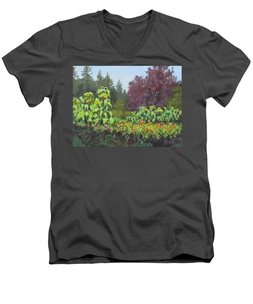 Men's V-Neck T-Shirt featuring the painting The Matriarchs by Karen Ilari