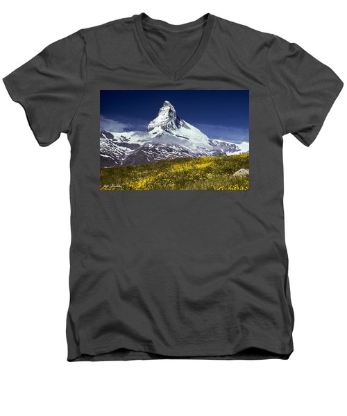 The Matterhorn With Alpine Meadow In Foreground Men's V-Neck T-Shirt by Jeff Goulden