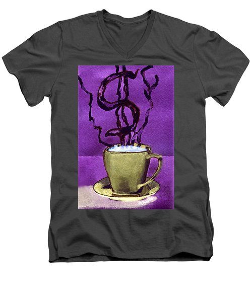 Men's V-Neck T-Shirt featuring the painting The Midas Cup by Paula Ayers