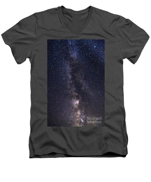The Milky Way From Phippsburg Maine Usa Men's V-Neck T-Shirt