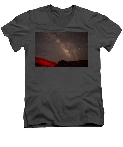The Milky Way Over Mesa Arch Men's V-Neck T-Shirt