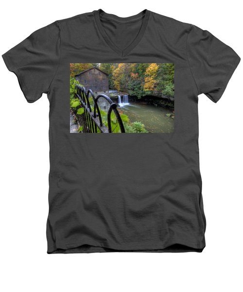The Mill And Falls At Mill Creek Park Men's V-Neck T-Shirt