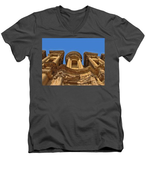 Men's V-Neck T-Shirt featuring the photograph The Monastery In Petra by David Gleeson