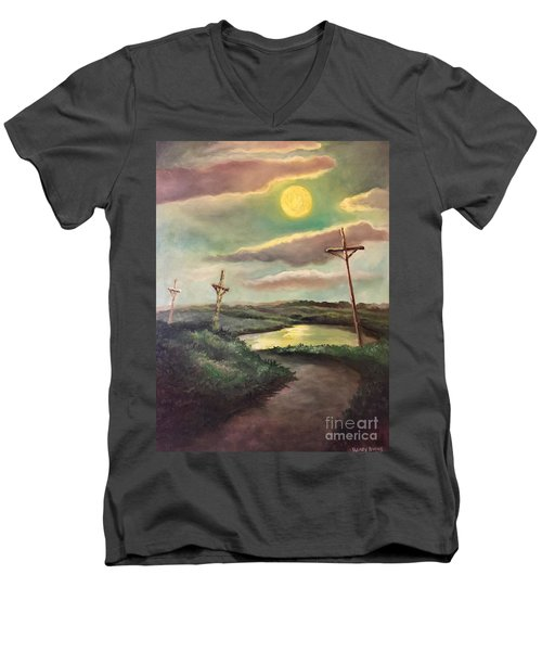 The Moon With Three Crosses Men's V-Neck T-Shirt by Randy Burns