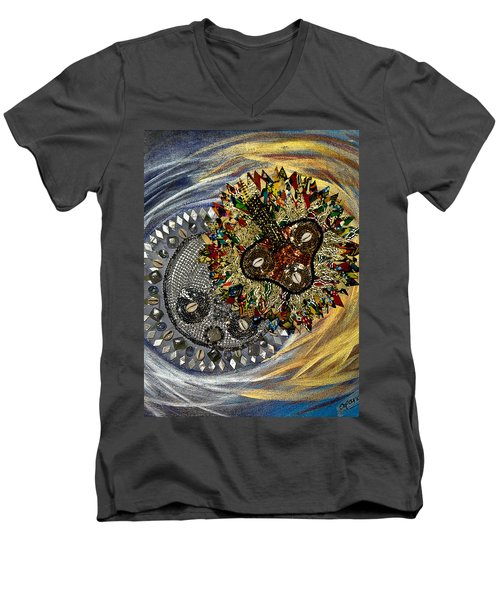 Men's V-Neck T-Shirt featuring the tapestry - textile The Moon's Eclipse by Apanaki Temitayo M