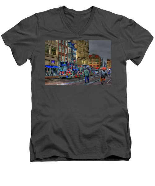 Men's V-Neck T-Shirt featuring the photograph The Morning Rhythm by Ron Shoshani