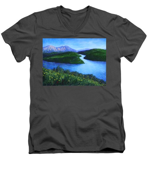 Men's V-Neck T-Shirt featuring the painting The Mountains Beyond by Penny Birch-Williams