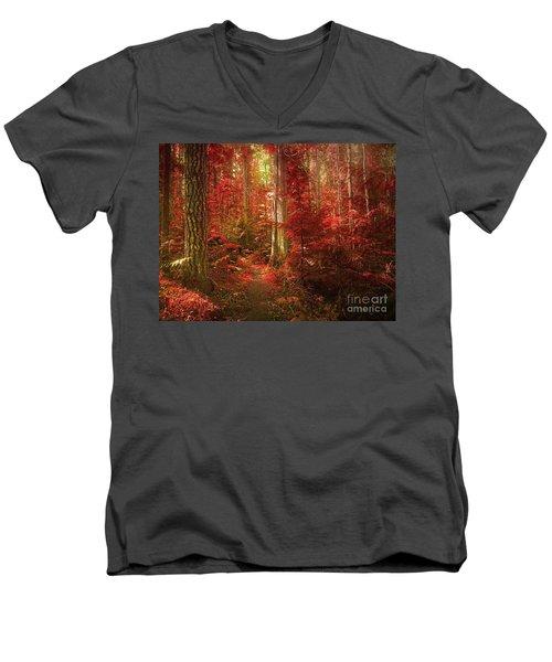 The Mystic Forest Men's V-Neck T-Shirt by Tara Turner