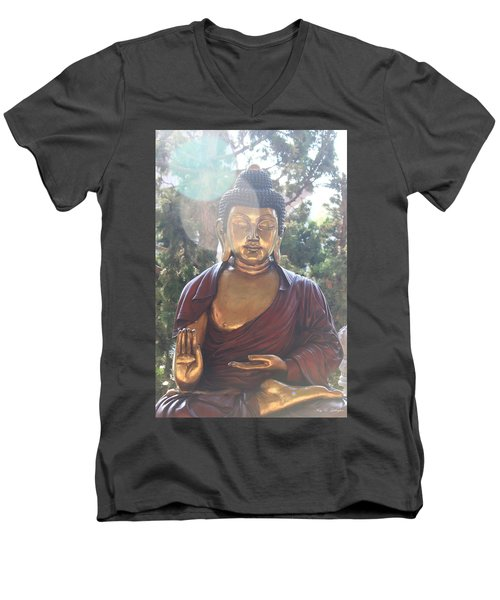Men's V-Neck T-Shirt featuring the photograph The Mystical Golden Buddha by Amy Gallagher