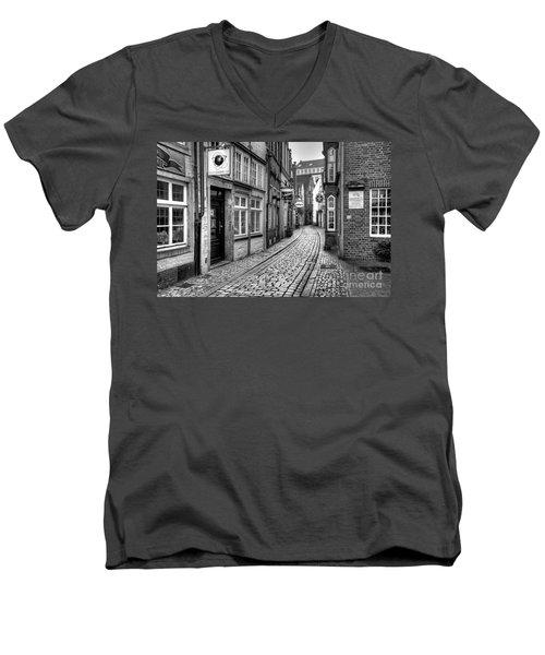 The Narrow Cobblestone Street Men's V-Neck T-Shirt by Ari Salmela