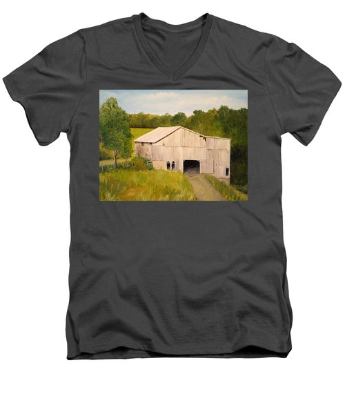 Men's V-Neck T-Shirt featuring the painting The Old Barn by Alan Lakin