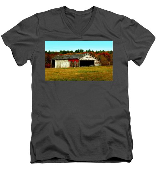 Men's V-Neck T-Shirt featuring the photograph The Old Barn by Bruce Carpenter