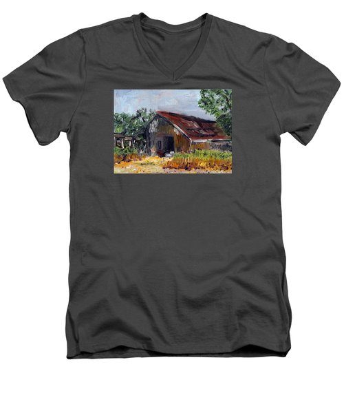 Men's V-Neck T-Shirt featuring the painting The Old Barn by Michael Helfen