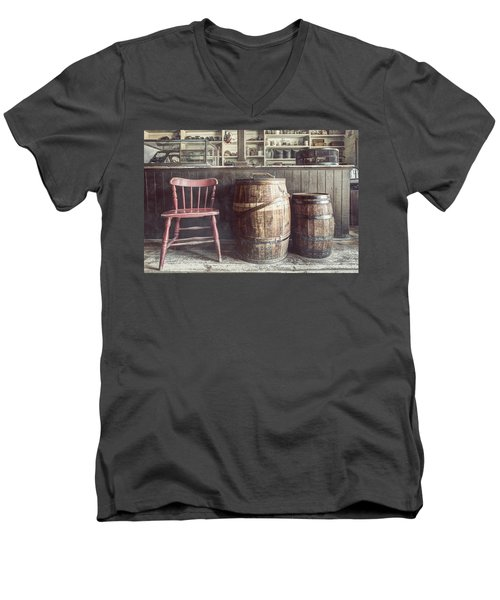The Old General Store - Red Chair And Barrels In This 19th Century Store Men's V-Neck T-Shirt