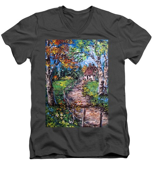Men's V-Neck T-Shirt featuring the painting The Old Homestead by Megan Walsh