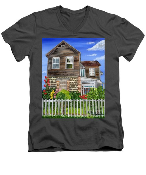 Men's V-Neck T-Shirt featuring the painting The Old House by Laura Forde