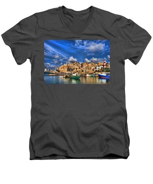 the old Jaffa port Men's V-Neck T-Shirt by Ron Shoshani