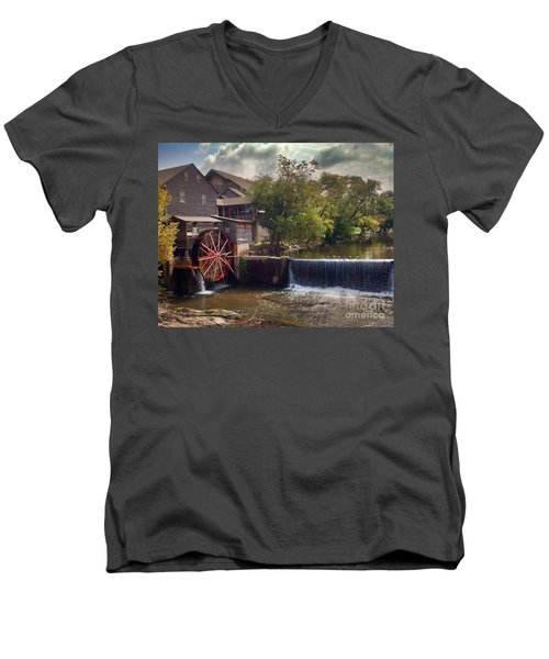 Men's V-Neck T-Shirt featuring the photograph The Old Mill by Janice Spivey