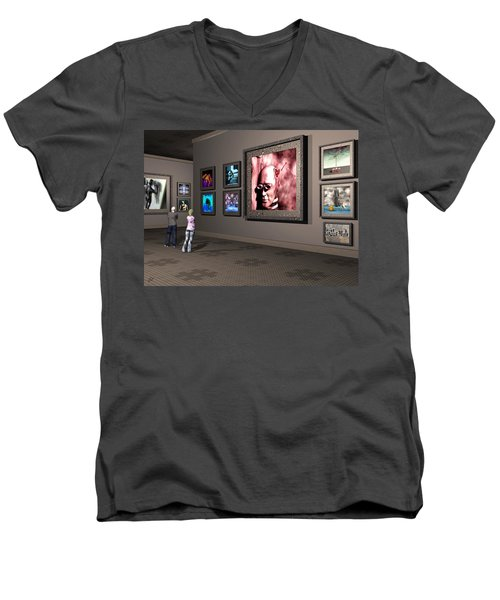 Men's V-Neck T-Shirt featuring the digital art The Old Museum by John Alexander