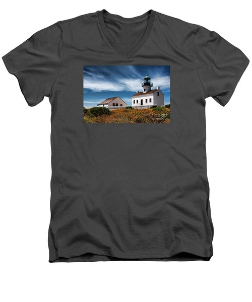 The Old Point Loma Lighthouse By Diana Sainz Men's V-Neck T-Shirt