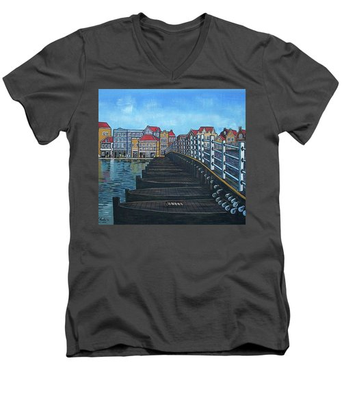 The Old Queen Emma Bridge In Curacao Men's V-Neck T-Shirt by Frank Hunter