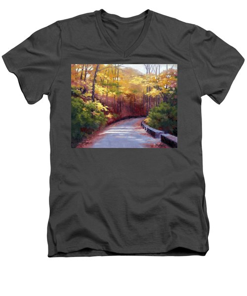 Men's V-Neck T-Shirt featuring the painting The Old Roadway In Autumn II by Janet King