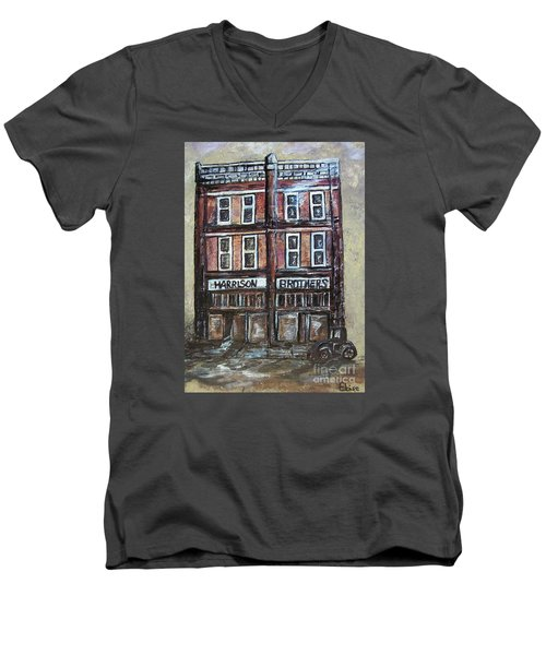 Men's V-Neck T-Shirt featuring the painting The Old Store by Eloise Schneider