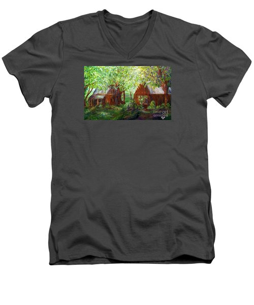 Men's V-Neck T-Shirt featuring the painting The Old Swing Between The House And The Barn by Eloise Schneider
