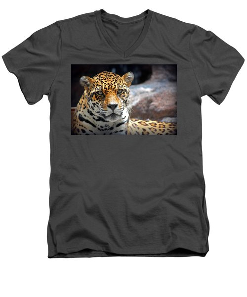 Men's V-Neck T-Shirt featuring the photograph The Ole Leopard Don't Change His Spots by Lynn Sprowl