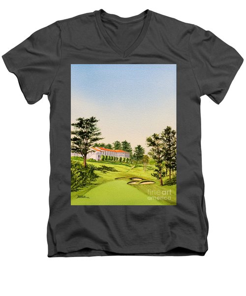 Men's V-Neck T-Shirt featuring the painting The Olympic Golf Club - 18th Hole by Bill Holkham