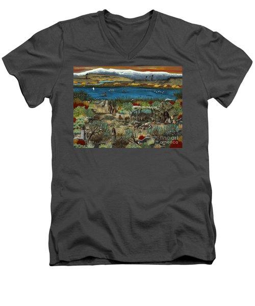 The Oregon Paiute Men's V-Neck T-Shirt by Jennifer Lake