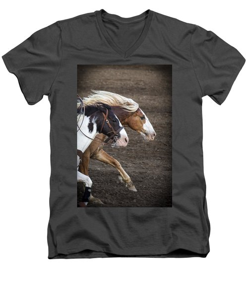 Men's V-Neck T-Shirt featuring the photograph The Outlaw And The Law by Caitlyn  Grasso