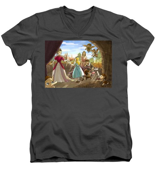 Men's V-Neck T-Shirt featuring the painting The Palace Balcony by Reynold Jay